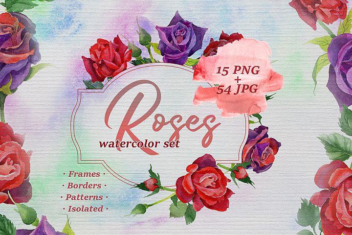 Roses watercolor PNG set