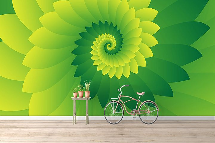 Abstract Digital Green Floral Design Background Wallpaper