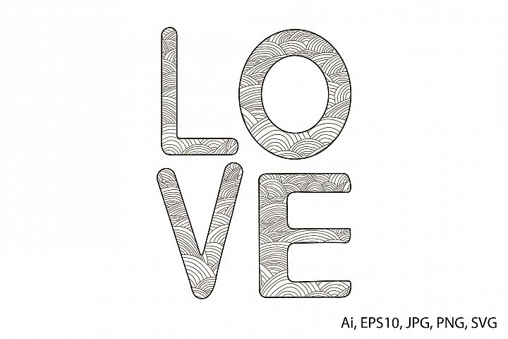 Word Love. Hand drawn. Coloring page.