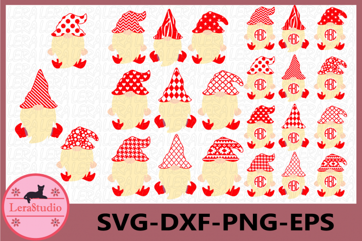 Gnome Monogram Frames Svg, Nordic gnome svg, Scandinavian