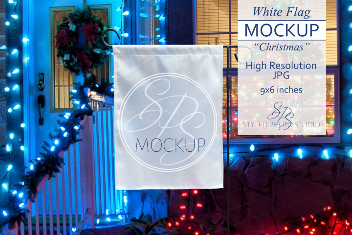 White Yard Flag Mockup for Christmas, A Holiday Flag Mock Up