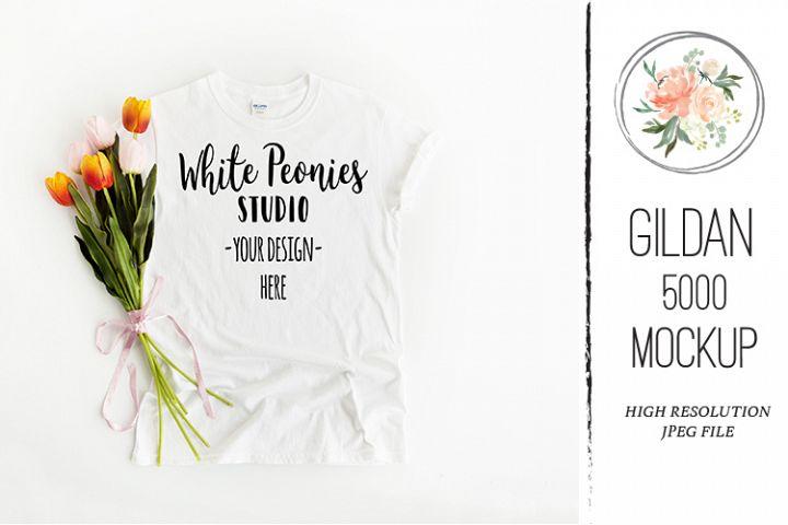 White GILDAN 5000 Shirt Spring Easter Mockup