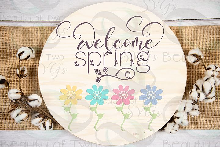 Welcome Spring Flowers svg, Easter Flowers svg, Spring svg