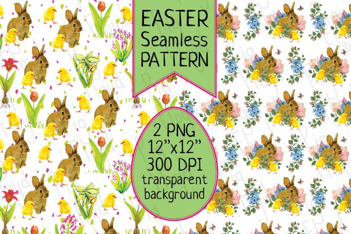 Easter Seamless Pattern, Bunny Digital Paper