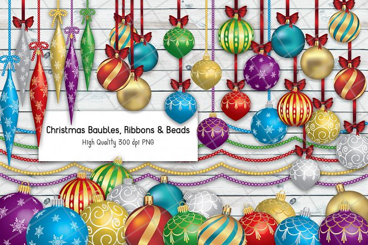 Christmas Baubles, Ribbons & Beads