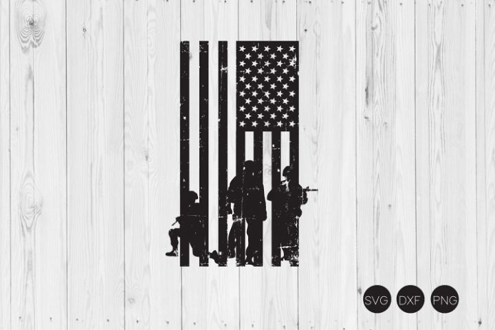 Soldiers American Distressed Flag SVG