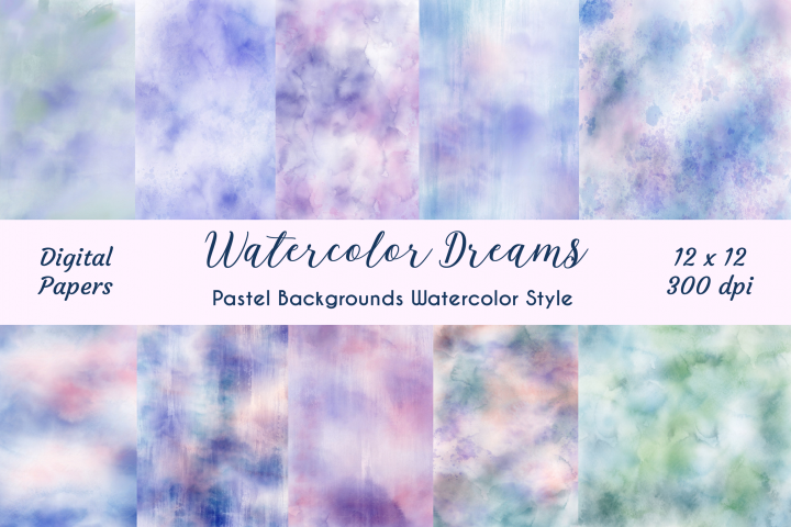 10 Background Digital Watercolor Dreams Texture Papers Pack