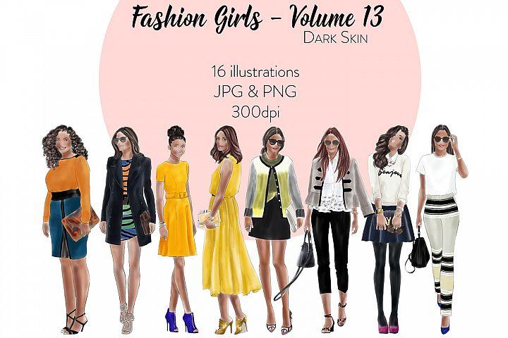 Fashion illustration clipart - Fashion Girls - Volume 13 - Dark skin