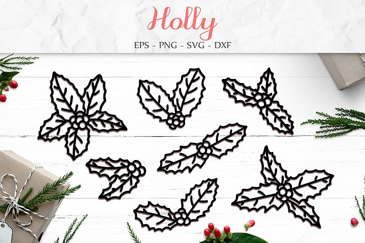 Holly Leaves svg png dxf eps - Holly Paper Cut