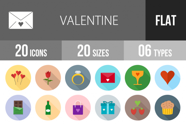 20 Valentine Flat Long Shadow Icons Season II