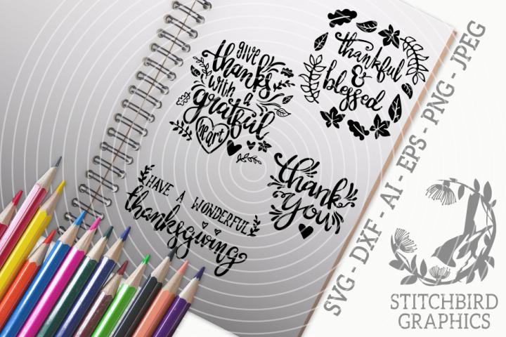 Thanksgiving Quotes 2 Bundle SVG, Silhouette Studio, Cricut