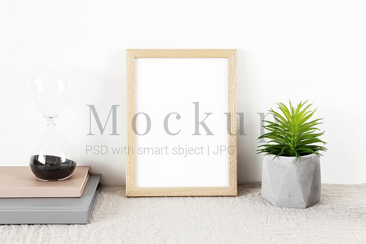 Beige Photo Frame Mockup & Sand Clock