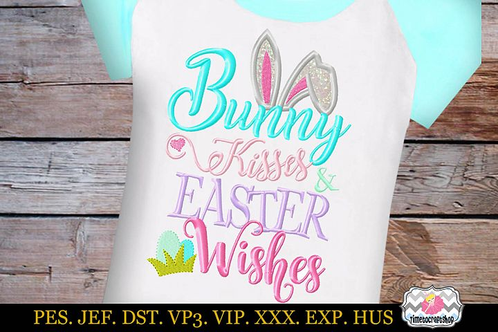 Bunny Kisses and Easter Wishes Embroidery Applique Design