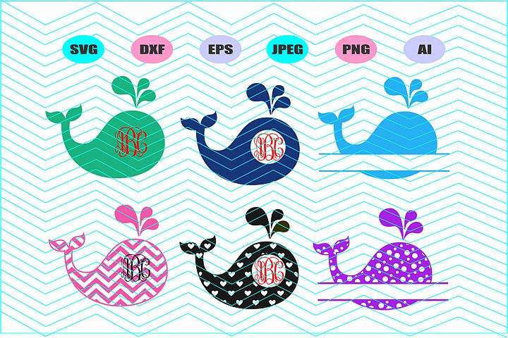 Monogram Whale Svg Dxf Eps Png Jpg Ai Cut Vector Vinyl Decal