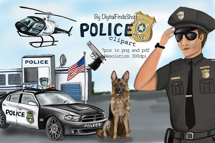 Police clipart, police station, helicopter, car