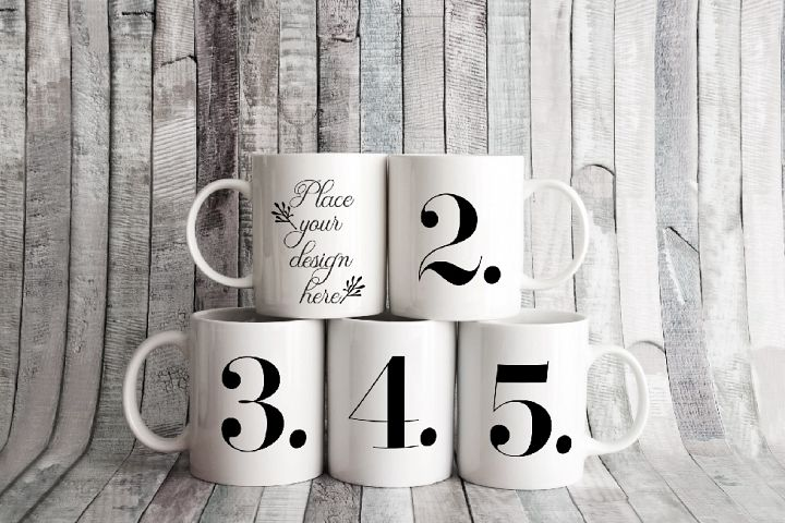 Five white coffee cup mockups 5 mugs rustic smart mockup