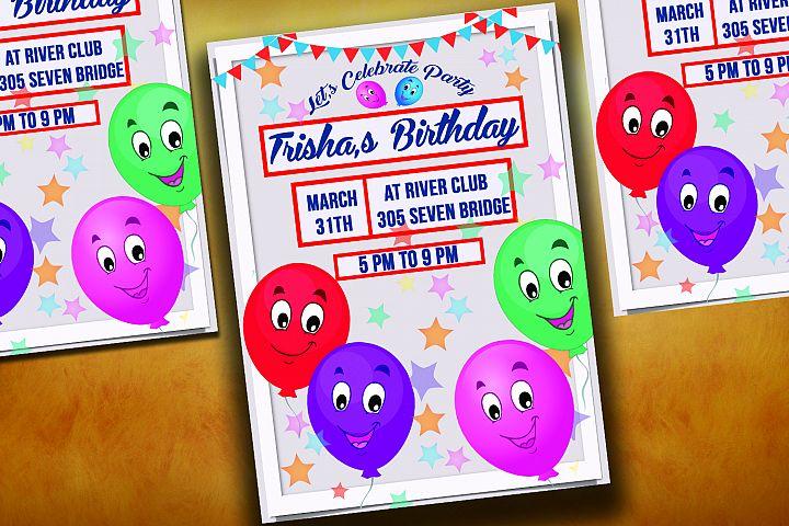 Happy Balloons Birthday Invitation Card
