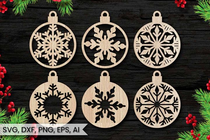 6 Christmas Ornaments, Cut File, Instant Download