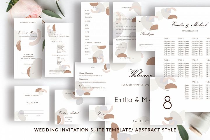 Abstract style Wedding Invitation Suite