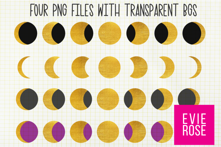Gold Texture Lunar Cycle Graphics