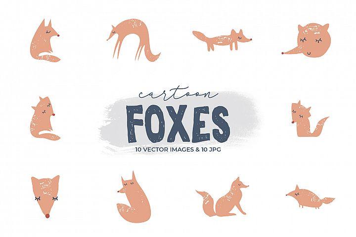 Cute cartoon foxes clip art set