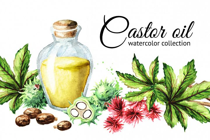 Castor oil. Watercolor set