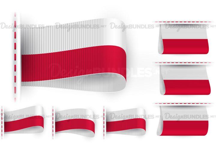 Vector Poland Flag Tag Clothes Label Sticker Sewn Set