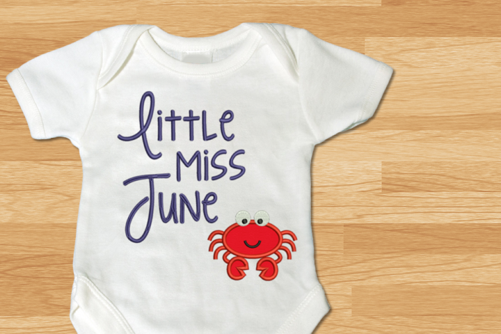 Little Miss June Crab Applique Embroidery Design