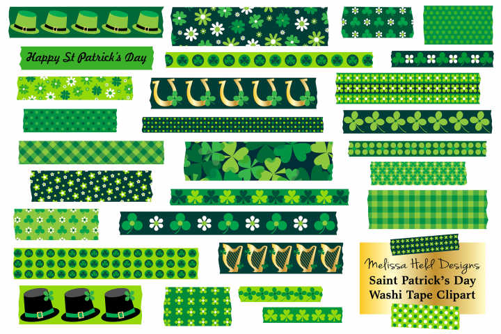 St Patricks Day Washi Tape Clipart