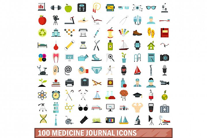 100 medicine journal icons set, flat style