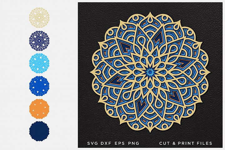 Mandala SVG, Cut file Mandala, Cut multilayer Mandala, 3D