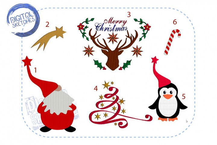 Christmas Machine Embroidery Design Set Merry Christmas Deer