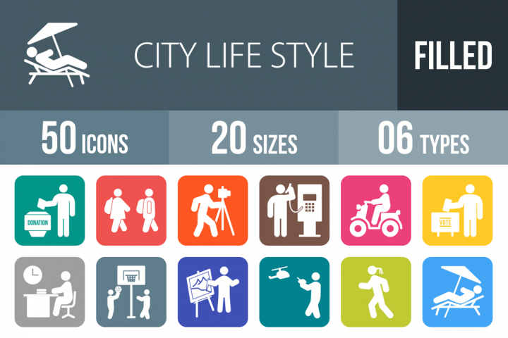 50 City Lifestyle Filled Round Icons
