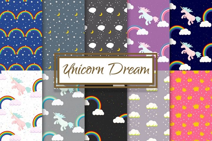 Unicorn Rainbow Dream Pattern Set