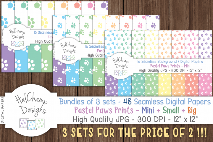 48 seamless Digital Papers - Pastel Paws Prints serie -DB006