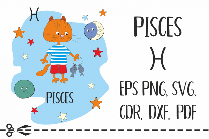 Pisces. Zodiac sign with funny cat