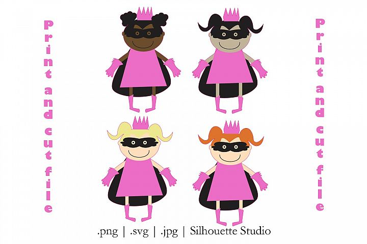 Super Hero princesses Print and cut file| silhouette Cameo