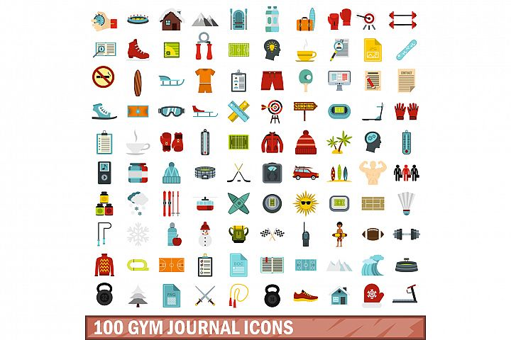 100 gym journal icons set, flat style