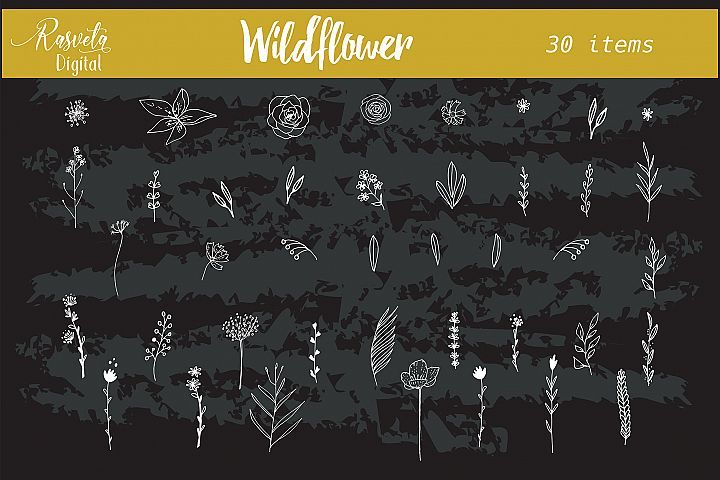 Wedding wildflower Flowers Leaf Branches invitation clipart