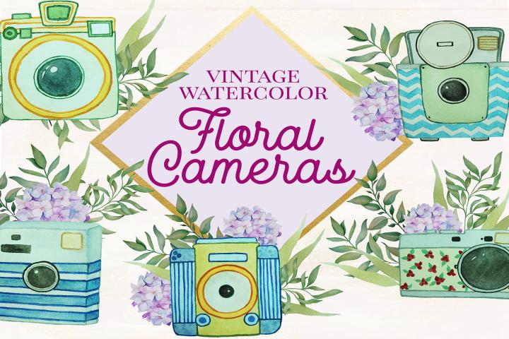 Floral Watercolor Vintage Cameras