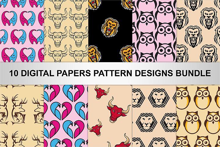10 DIGITAL PAPERS PATTERN DESIGNS BUNDLE