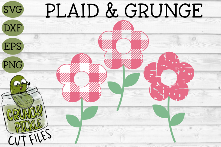 Plaid & Grunge Flower SVG Cut File