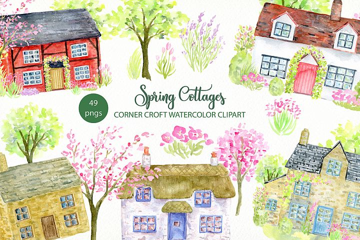 Watercolor Spring Cottage Clipart