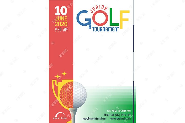 Junior Golf Tournament poster template.