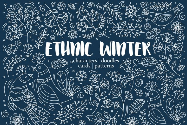 ETHNIC WINTER Folk Ornament Decor Fabric Print Doodle