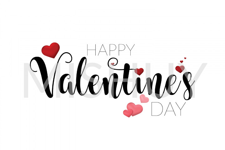 Happy Valentine Day Typography With Hearts SVG