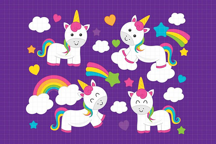 Rainbow Unicorn-Digital Clipart LES.CL76B