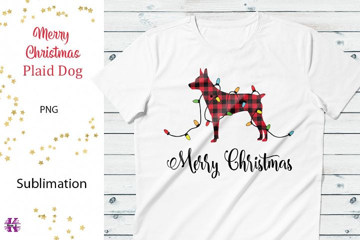 Merry Christmas Plaid Dog Sublimation