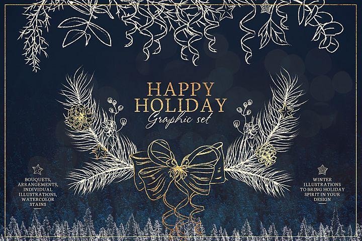 Winter floral line art. Holiday set