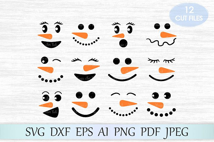 Snowman faces SVG, Snowman SVG, Christmas SVG, Clipart